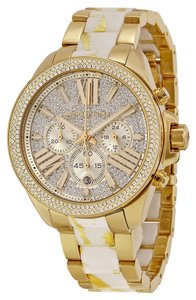 Michael Kors Luxury Crystal Pave Bling Gold tone White Acetate Shimmer Casual Ladies Watch