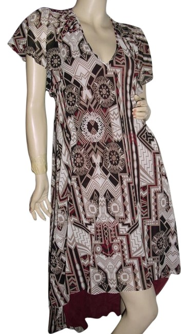 Item - Brown Off White W W/ Pleated Circle Sleeves High-low Night Out Dress Size 2 (XS)