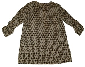 Michael Kors Mk Silk Monogram Blouse Button Up Dress Shirt Tunic