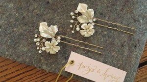 BHLDN Pearl Ivory Gold and Crystal Petite Flora (2) Hairpins Hair Accessory