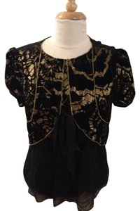 Cynthia Steffe Silk Velvet Embroidered Top Black and Gold