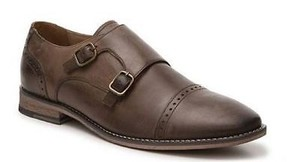 Aston Grey Shadow Mens Dark Brown Leather Double Monk Oxford Dress Shoes