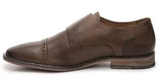 Aston Grey Shadow Mens Dark Brown Leather Double Monk Oxford Dress Shoes Image 1