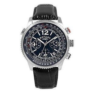 Rotary Watches Rotary Gs0032305 Mens Black Leather Blue Chronograph Stainless Steel Watch