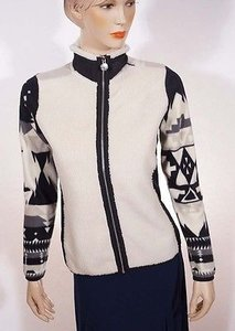 Ralph Lauren Active Women Indian Tribal Aztec Full Zip Fleece White Jacket