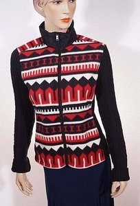 Ralph Lauren Active Women Black Indian Tribal Aztec Full Zip Fleece Red Jacket