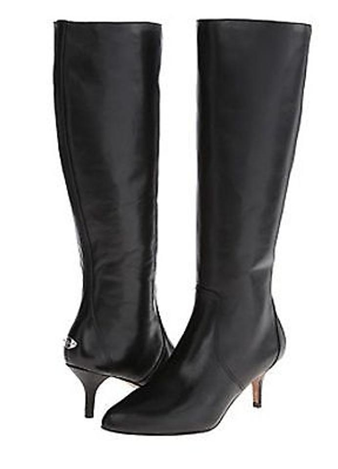 hot-selling real discount for sale utterly stylish Coach Foxy Semi Matte Calf A8409 Womens Black Leather Knee High Heel Boots