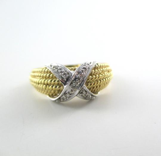 "Other 14KT Karat solid yellow Gold ""X"" Design with diamonds"