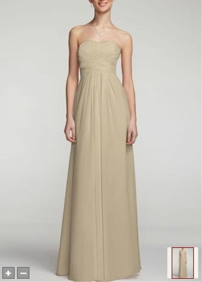 David S Bridal Champagne Chiffon F15555 Formal Bridesmaid Mob Dress Size 14 L