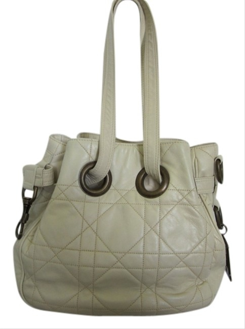 Item - Christian Cannage Drawstring Cream Lambskin Leather Shoulder Bag