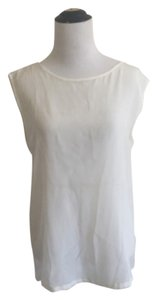 Zara White Basic Basic Mulberry Silk Cotton Sleeveless Cream Cheap Expensive Top off White