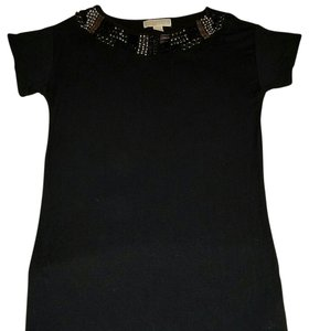 Michael Kors Studded Jeweled Collared Top black