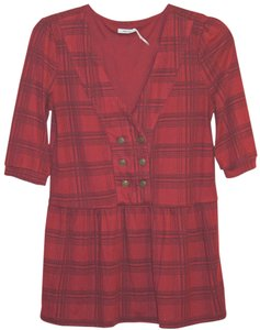 Kimchi Blue Military Peplum Plaid Button Down Shirt red
