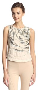 Haute Hippie Beaded Large Abstract Rose Cropped Silk Embellished Top Antique Ivory