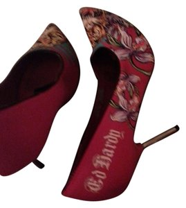Ed Hardy Signature Lion Flowers Heels Red Pumps