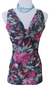 New York & Company Tropical Mesh Top Black, Pink, Green Floral