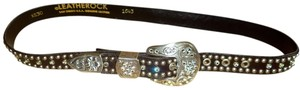 Leatherock LEATHEROCK Black Leather Swarovski Crystal Belt, Size XS