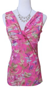 New York & Company Tropical Mesh Top Pink, Purple, White, Green Floral
