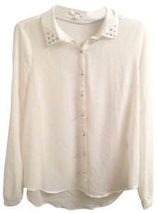 Only Mine Sheer Sexy Open Back Silver Buttons Button Down Shirt white