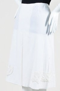 Prada Pleated Beaded Skirt White