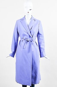 Valentino Vintage Miss V Periwinkle Wool Blend Belted Trench Coat