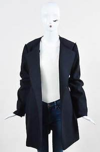 Dior Christian Navy Wool Exposed Seam Double Breasted Coat