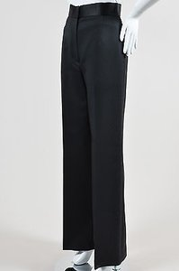 The Row Wool Silk Trim High Waist Wide Leg Helip Pants