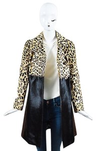 Valentino Tan Gold Tone Calf Hair Leopard Print Ls Coat