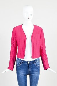 Chanel Identification 00t Hot Padded Nylon Quilted Long Sleeve Pink Jacket
