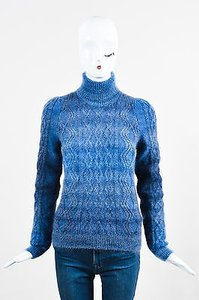 Gucci Mohair Silk Wool Cable Knit Ls Turtleneck Sweater