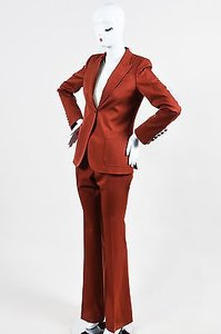 Gucci Gucci Brick Red Wool Blazer And Trousers Suit Set