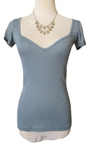 Michael Stars Shimmering Sweetheart Neckline Cap Sleeves Short Sleeves T Shirt Light Blue