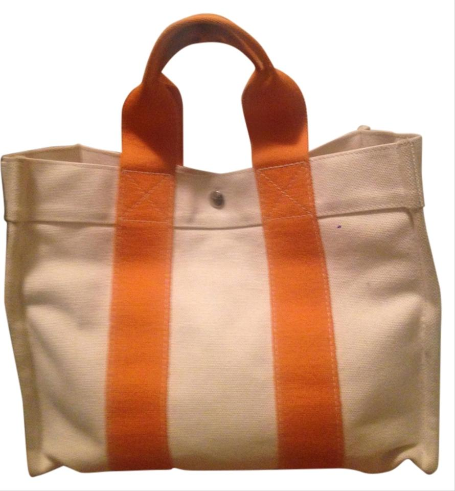 Hermès Purse Travel Handbag Tote in Cream   Hermes Orange ... 6535e3e3fa898