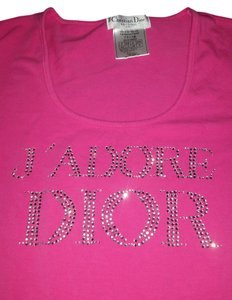 Dior Jadore Bling Rhinestone Crystal Long Sleeve T Shirt pink