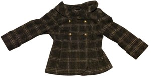 Guess By Marciano Classic Swing Jacet Tweed Black/Gray Plaid with Gold Accent Jacket
