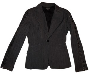 bebe Fitted Pinstripe Jacket Stretchy Charcoal Gray Blazer