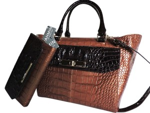 Brahmin Leather Satchel in Bronze Sienna