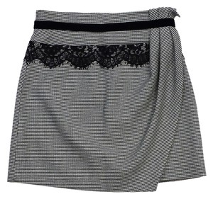 Karen Millen Black White Checkered Skirt