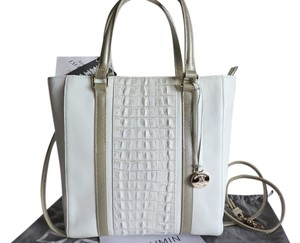 Brahmin Croc Emboss Leather Pebbled Leather White/silver Gray Sm-med Carryall Tote in Macaroon Lady Vineyard