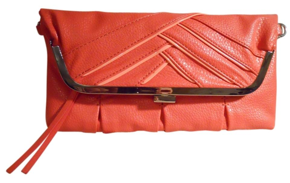 8c4e35a6584d Jessica Simpson Faux Leather Clutch Coral Pink Pu Cross Body Bag ...