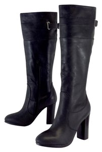 Kelsi Dagger Black Leather Chunky Heel Boots