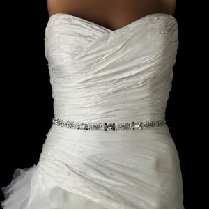 Elegance By Carbonneau Ivory Ribbon Crystal And Pearl Beaded Wedding Dress Belt
