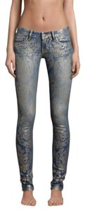 Hollister Paisley Painted Foiled Skinny Jeans-Medium Wash