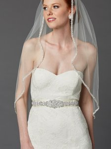 Mariell Ivory Crystal Beaded Wedding Dress Belt Sash