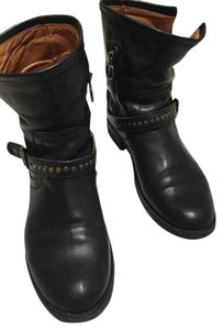 Fiorentini + Baker F+b Leather Studded Made In Italy Italian Motorcycle Rivets Black Boots