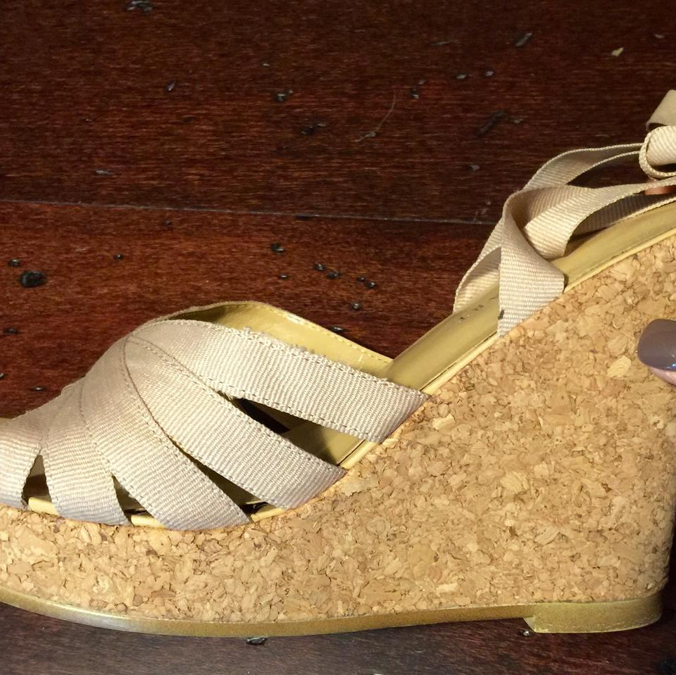 6bb604a471c896 Colin Stuart Beige Ribbon Wedges Size US 8 - Tradesy