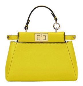 Fendi Blue Peekaboo Satchel in Lime Green