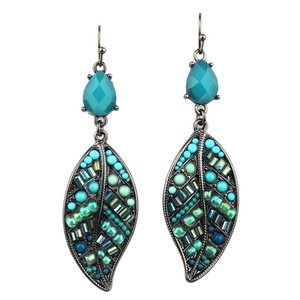 Mariell Handmade Turquoise Leaf Dangle Earrings 4341e-tqmu