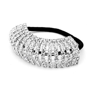 Mariell Silver Domed Crystal Rhinestone Elastic Backed Ponytail Holder 4139ph Hair Accessory