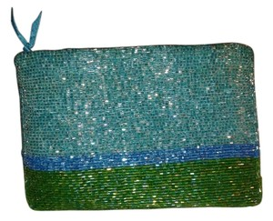 Neiman Marcus Blue and Green Clutch